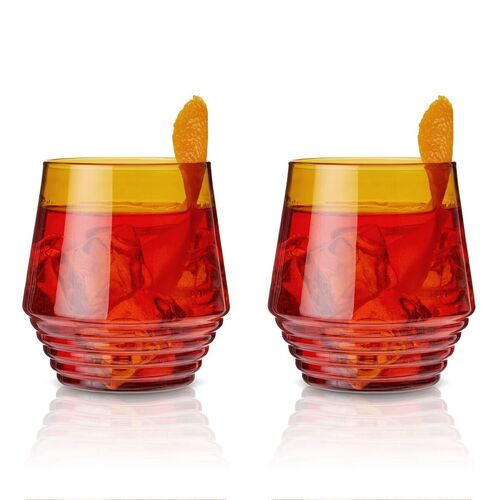 Amber Deco Cocktail Glasses - Set of 2