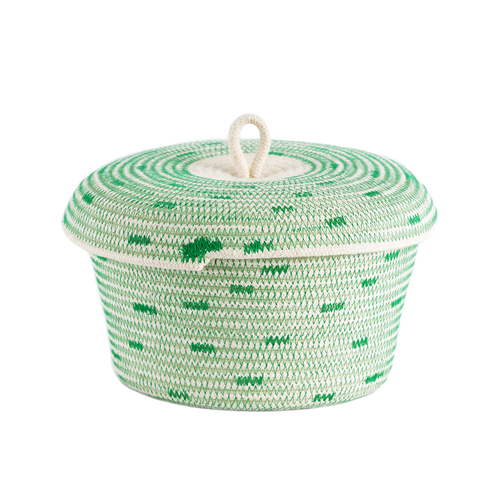 Stitched Greenery Lidded Basket