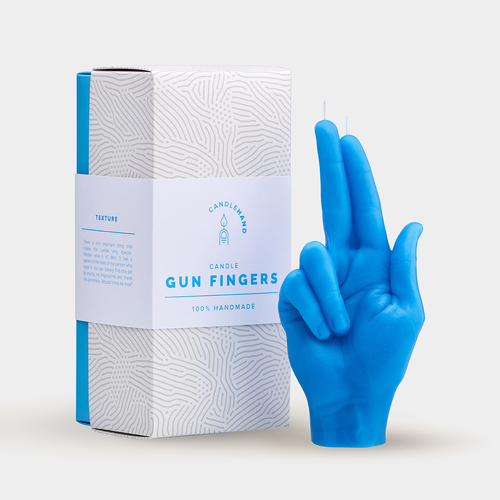"""Gun fingers"" Hand Gesture Candle Blue"